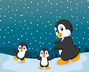 the winter season with the small penguin and snow
