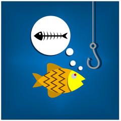 Gold fish, fish skeleton, and fishhook. Vector illustration design.