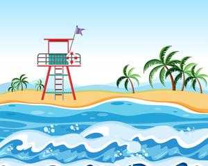 Lifeguard at the beach scene