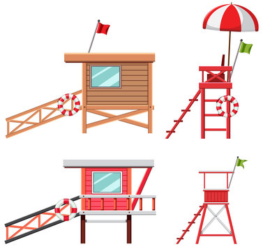 Set of lifeguard house and chair