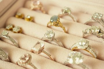 Jewelry diamond rings and earrings in box