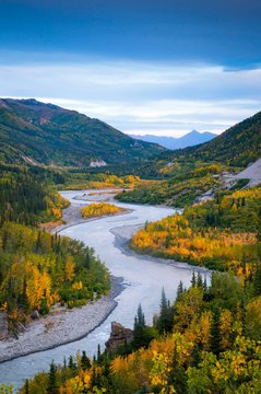 Windy river view in fall - Alaska