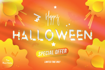 Happy Halloween typography poster with special offer. Celebration card for autumn event. Creative template with decoration elements on the background. Flat vector illustration EPS10