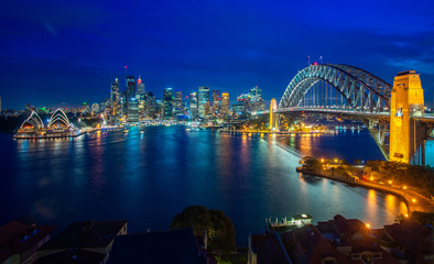 Wall Mural - Sydney harbour and bridge in Sydney city