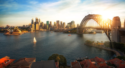 Photo sur Plexiglas Sydney Sydney harbour and bridge in Sydney city