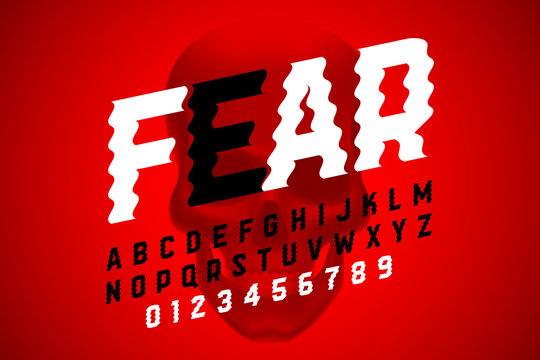 Trembling font design, Halloween style alphabet letters and numbers