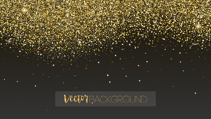 Golden glitter texture. Sparkling snow dust falling down. Template for New year and Christmas cards. Shining vector background for cover, luxury invitation, birthday or holiday cards, certificate.