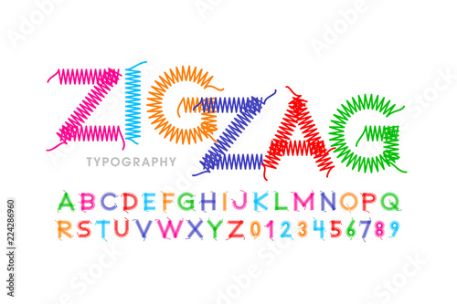 Zigzag font stitched with thread, embroidery font alphabet letters