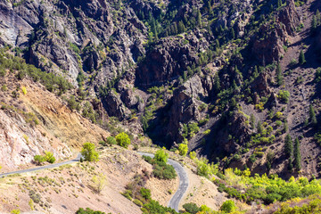 East Portal Road descends in a steep, winding trajectory through Black Canyon of the Gunnison National Park to the Gunnison River in Colorado