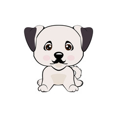 Icon dog breed dog. The puppy has a curvy mustache