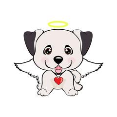 illustration of funny puppy dog media icon smiley, happy dog angel
