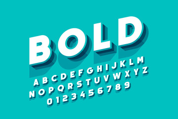 Modern bold font design, alphabet letters and numbers Wall mural