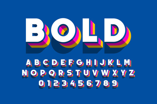 Modern bold font design, alphabet letters and numbers