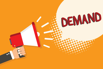 Writing note showing Demand. Business photo showcasing insistent and peremptory request made as of right ask authoritatively Man holding megaphone loudspeaker bubble orange background halftone