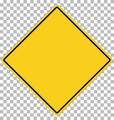 blank yellow sign. empty yellow symbol on transparent. empty warning sign.