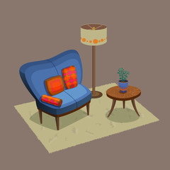 Living room interior including sofa, coffee table, pillows, floor lamp, carpet, indoor plant in the pot. Retro style house furniture. Colorful cartoon illustration.