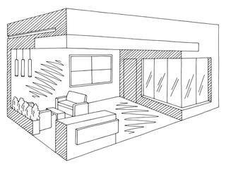 Exhibition stand graphic interior black white sketch illustration vector