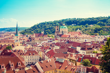 Wall Mural - Panoramic view of Prague on a sunny day in summer, Czech Republic, Europe