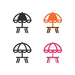 Classical umbrellas for a street cafe terrace