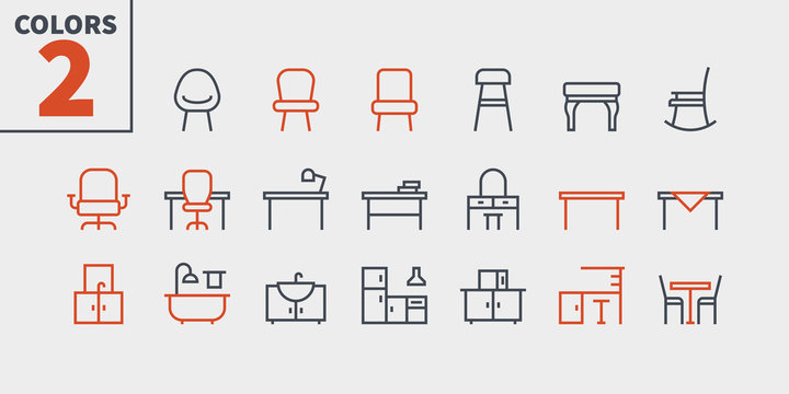 Furniture UI Pixel Perfect Well-crafted Vector Thin Line Icons Web Graphics and Apps with Editable Stroke. Simple Minimal Pictogram Part 2-3