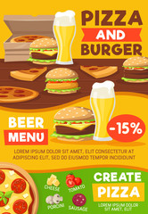 Fast food burger pizza and sandwich with beer