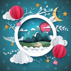 Cartoon paper landscape. Mountain, air balloonmcloud, star, branch illustration Vector eps 10