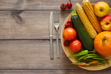 Harvest on the table. Fruit and vegetables. Vegetarian diet.