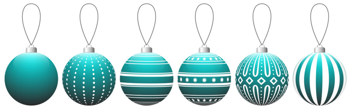 Collection of teal glass Christmas balls with pattern hanging on a thread. Vector EPS 10