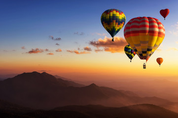 Canvas Prints Balloon Hot air balloons with landscape mountain.