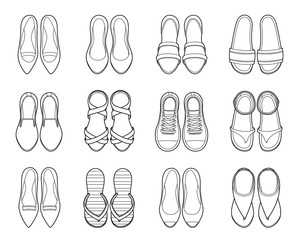 Set Of Different Types Of Women's Shoes Pair, Outline, Top View, Footwear, Fashion, Objects