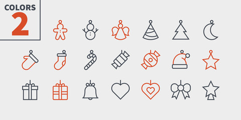 Toys on the Christmas tree Pixel Perfect icons Well-crafted Vector Thin Line Icons 48x48 Ready for 24x24 Grid for Web Graphics and Apps. Part 2 Colors 2
