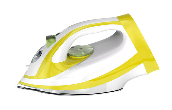 White and yellow electric iron