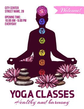 Yoga classes, human in lotus pose, chakras signs