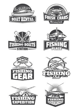 Fishing tournament and fishery gear icons