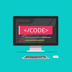 Programming code on computer vector illustration, programme coding or development process on desktop pc concept cartoon flat style
