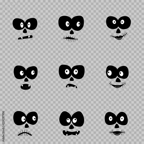 cartoon day of the dead eyes set template on transparent background