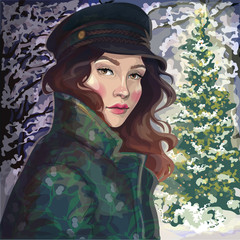 illustration  beautiful girl in coat and hat in winter park near Christmas tree