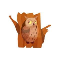 Cute owlet sitting in hollow of tree vector Illustration on a white background