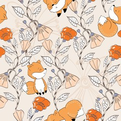 Vector hand drawn seamless pattern. Cute cartoon foxes.