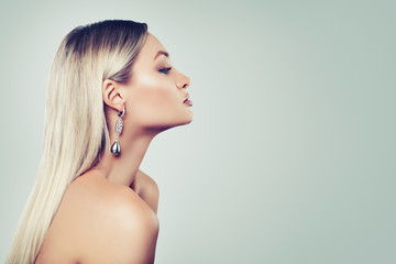 Healthy female face, back and profile portrait. Young perfect woman on background with copy space