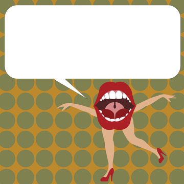Flat design Vector Illustration Empty esp template copy text for Ad, promotion, poster, flyer, web banner, article. Open Mouth with arms and legs Singing Dancing Blank white Speech Bubble