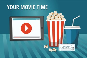 Cinema concept poster with tablet, popcorn bowl, drink and tickets isolated on blue background