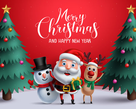 Christmas vector characters like santa claus, reindeer and snowman holding gift with merry christmas greeting and tree in a red background. Vector illustration.