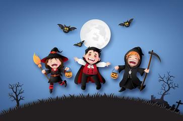 children in halloween costumes.