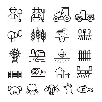Farm and Agriculture Line Icons Set, Farmers, Plantation, Gardening, Animals, Objects