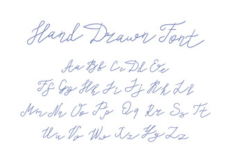 Vector Handwritten Font, Freehand Writing Letters on White Background.