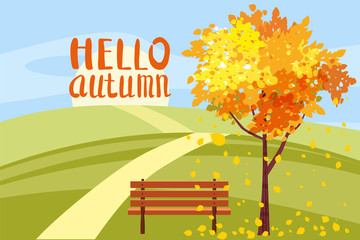 Autumn landscape, Hello autumn letterung, tree with fallen leaves, wooden bench, panorama, autumnal mood, yellow, red, orange leaves, cartoon style, vector, illustration, isolated