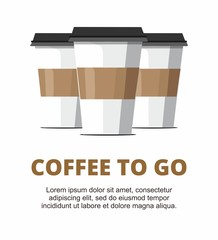 Three Paper cup of coffee on white background.