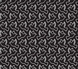 Doves seamless pattern. Birds vector background texture