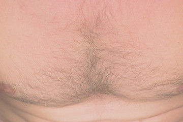 Hairy chest of a man